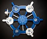 Люстра штурвал деревянная синяя  с компасом  на 6 лампочек, фото 9