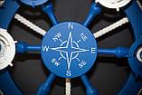 Люстра штурвал деревянная синяя  с компасом  на 6 лампочек, фото 10