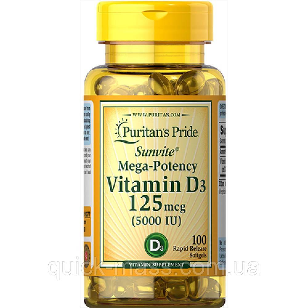Витамин D3 Puritan's Pride Vitamin D3 5000IU 100softgels