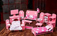 Мебель для кукольного домика + Текстиль Розовый