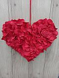 Червоне серце з пелюсток троянд - декор до дня Валентина, весілля, фото 5
