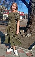 Платье миди из штапель-твила хаки
