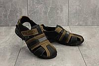 Подростковые сандали кожаные летние оливковые-черные Yuves 158, фото 1