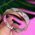 Серебряное кольцо с цирконием Треугольнички, фото 4