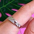 Серебряное кольцо с цирконием Треугольнички, фото 6
