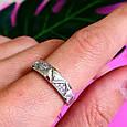 Серебряное кольцо с цирконием Треугольнички, фото 5