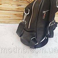 Жіночий шкіряний міський рюкзак на одне відділення чорний, фото 8