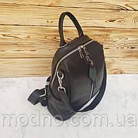Жіночий шкіряний міський рюкзак на одне відділення чорний, фото 6