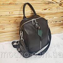 Жіночий шкіряний міський рюкзак на одне відділення чорний, фото 5
