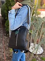 Жіночий шкіряний міський рюкзак на одне відділення чорний, фото 3