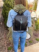 Жіночий шкіряний міський рюкзак на одне відділення чорний, фото 2