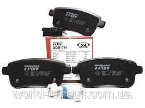 TRW GDB1791 - Комплект задних тормозных колодок (под электро ручник) для Рено Меган 3