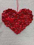 Декоративне червоне серце з пелюсток троянд 60 см, фото 2