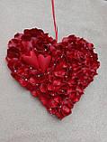 Декоративне червоне серце з пелюсток троянд 60 см, фото 3