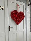 Декоративне червоне серце з пелюсток троянд 60 см, фото 5