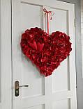 Декоративне червоне серце з пелюсток троянд 60 см, фото 6