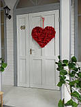Декоративне червоне серце з пелюсток троянд 60 см, фото 9