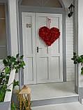Декоративне червоне серце з пелюсток троянд 60 см, фото 8