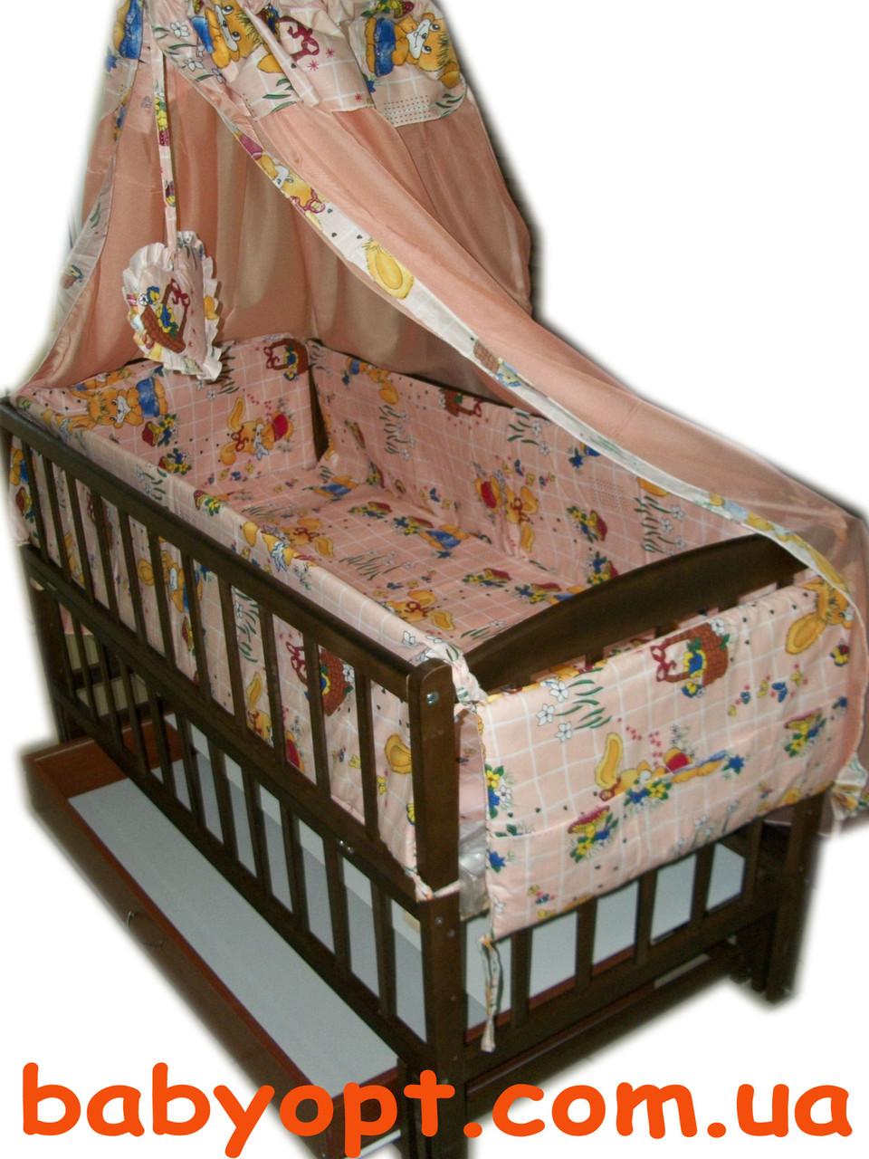"""Постельный комплект в детскую кроватку """"Зайчики"""" персиковый 8 элементов"""