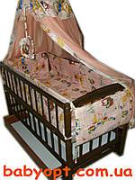 """Постельный комплект в детскую кроватку """"Зайчики"""" персиковый 8 элементов, фото 1"""