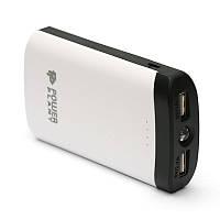 Универсальная мобильная батарея PowerPlant PB-LA9212 7800mAh Black/White (PPLA9212) + универсальный кабель