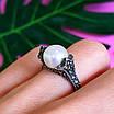 Серебряное кольцо с марказитами - Кольцо из капельного серебра с жемчугом, фото 9