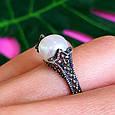 Серебряное кольцо с марказитами - Кольцо из капельного серебра с жемчугом, фото 4