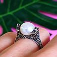 Серебряное кольцо с марказитами - Кольцо из капельного серебра с жемчугом, фото 5