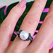 Серебряное кольцо с марказитами - Кольцо из капельного серебра с жемчугом, фото 8