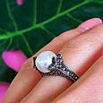 Серебряное кольцо с марказитами - Кольцо из капельного серебра с жемчугом, фото 6
