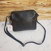 Женская кожаная итальянская сумка через плечо на три отделения Vera Pelle