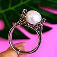 Серебряное кольцо с марказитами - Кольцо из капельного серебра с жемчугом, фото 2