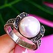 Серебряное кольцо с марказитами - Кольцо из капельного серебра с жемчугом, фото 3