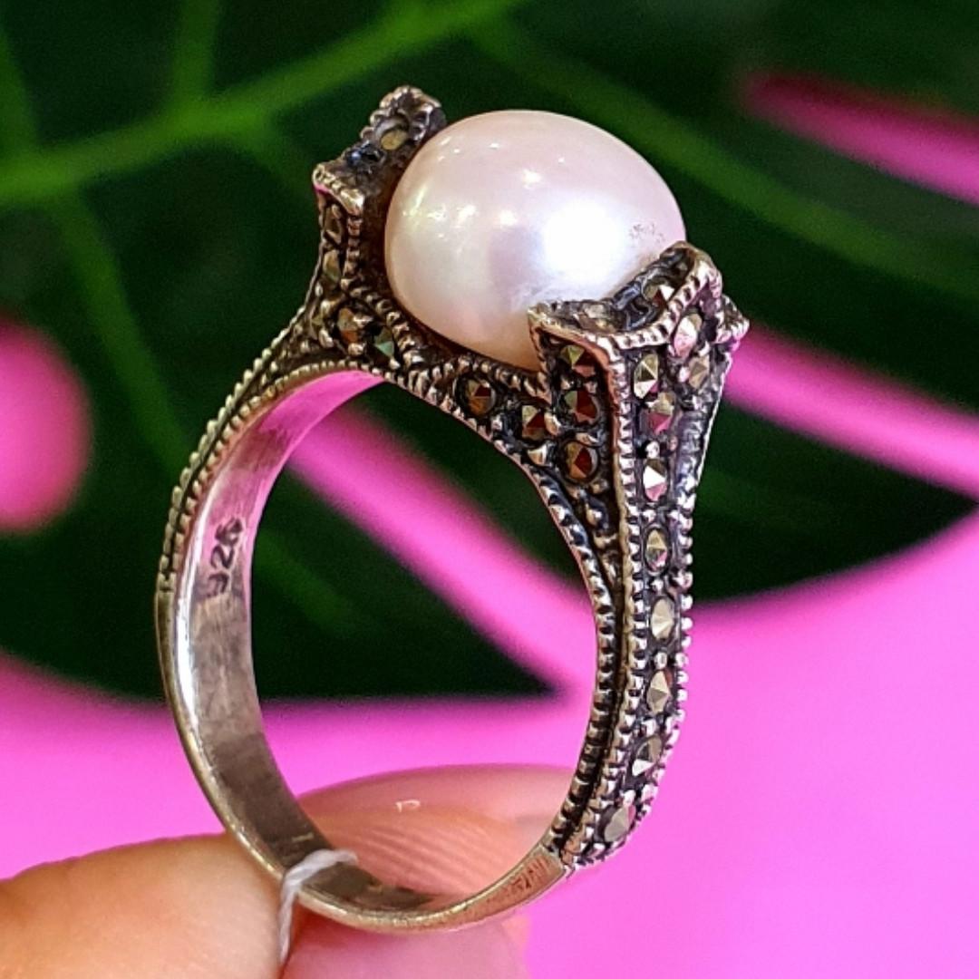 Серебряное кольцо с марказитами - Кольцо из капельного серебра с жемчугом