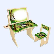 """Детская парта со стулом """"Панда с двусторонним мольбертом"""" регулируемая по высоте от 2 до 8 лет."""