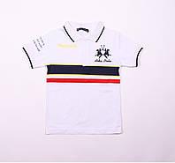 Детская футболка поло для мальчика,белая, возраст 10,11,12,13 лет.