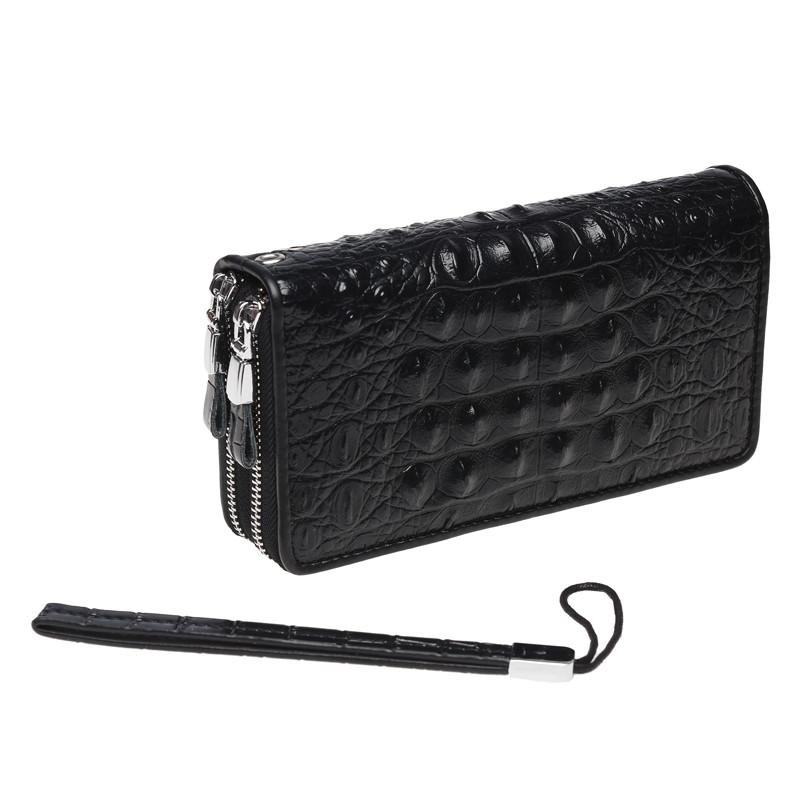 Кожаный кошелек-клатч, черный.