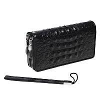 Кожаный кошелек-клатч, черный., фото 1