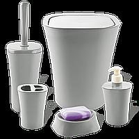 Набір для ванної кімнати Planet Papillon 5 предметів сірий