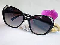 Стильные солнцезащитные женские очки бабочки черные (06801), фото 1