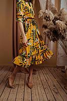 Женское платье по колено цветочный принт