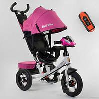 Трехколесный велосипед с ручкой козырьком фарой поворотное сиденье надувные колеса Best Trike 7700В/71-375