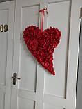 Декоративне червоне серце з пелюсток троянд, фото 4