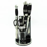 Набор ножей кухонных на подставке Benson BN-403, 9 предметов Black