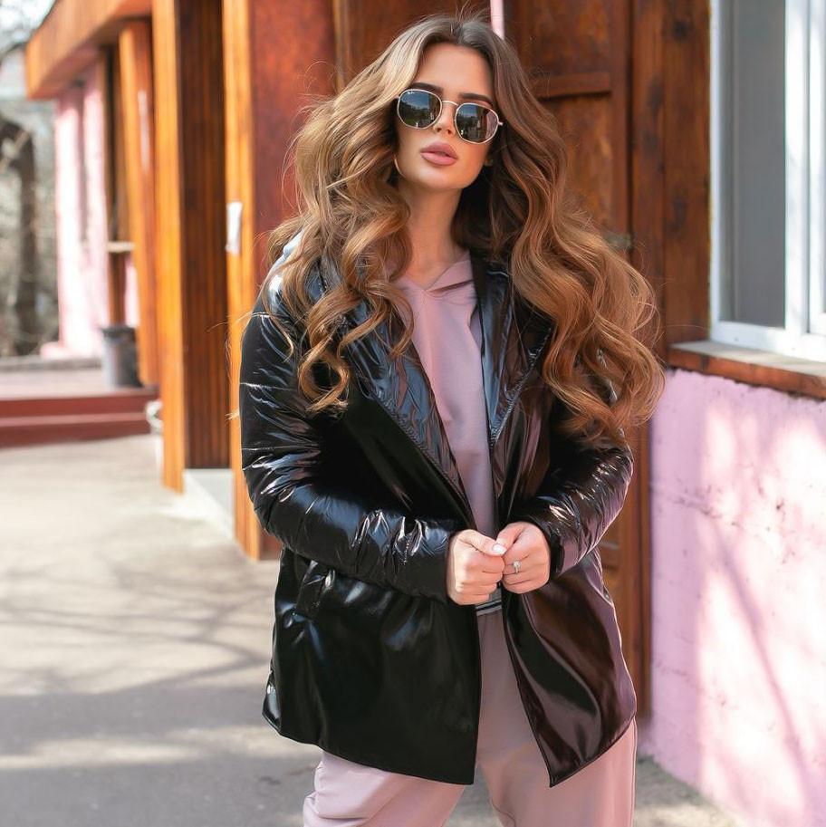 Женская осенняя куртка на поясе комбинированная модель с плащевки на силиконе 120 + экокожа размер:42, 44, 46