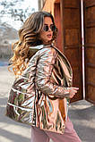 Женская осенняя куртка на поясе комбинированная модель с плащевки на силиконе 120 + экокожа размер:42, 44, 46, фото 4