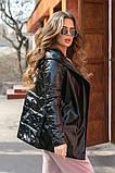Женская осенняя куртка на поясе комбинированная модель с плащевки на силиконе 120 + экокожа размер:42, 44, 46, фото 5