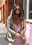 Женская осенняя куртка на поясе комбинированная модель с плащевки на силиконе 120 + экокожа размер:42, 44, 46, фото 6