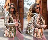 Женская осенняя куртка на поясе комбинированная модель с плащевки на силиконе 120 + экокожа размер:42, 44, 46, фото 2