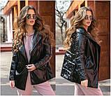 Женская осенняя куртка на поясе комбинированная модель с плащевки на силиконе 120 + экокожа размер:42, 44, 46, фото 3